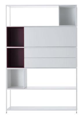 Furniture - Bookcases & Bookshelves - Minima 3.0 Bookcase - / W 120 x H 188 cm - Integrated boxes by MDF Italia - White / White and red boxes - Aluminium, Wood fibre