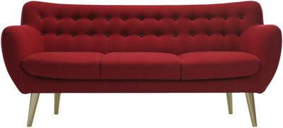 Mobilier - Canapés - Canapé droit Coogee / 3 places - L 181 cm - Sentou Edition - Rouge / Boutons : bordeaux - Chêne, Drap de laine, Mousse