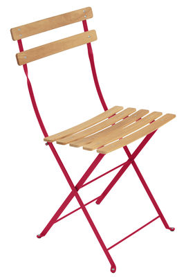 Chaise pliante Bistro / Métal & bois - Fermob bois naturel,rose praline en bois
