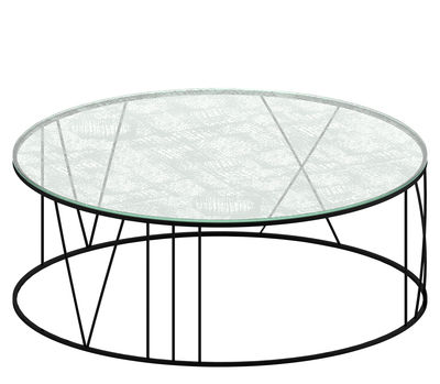 Furniture - Coffee Tables - Roma Coffee table - Ø 100 cm by Zeus - Black copper / Sandblasted glass - Engraved glass, Painted steel