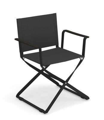 Chaise pliant Ciak / Accoudoirs ABS - Emu noir en tissu