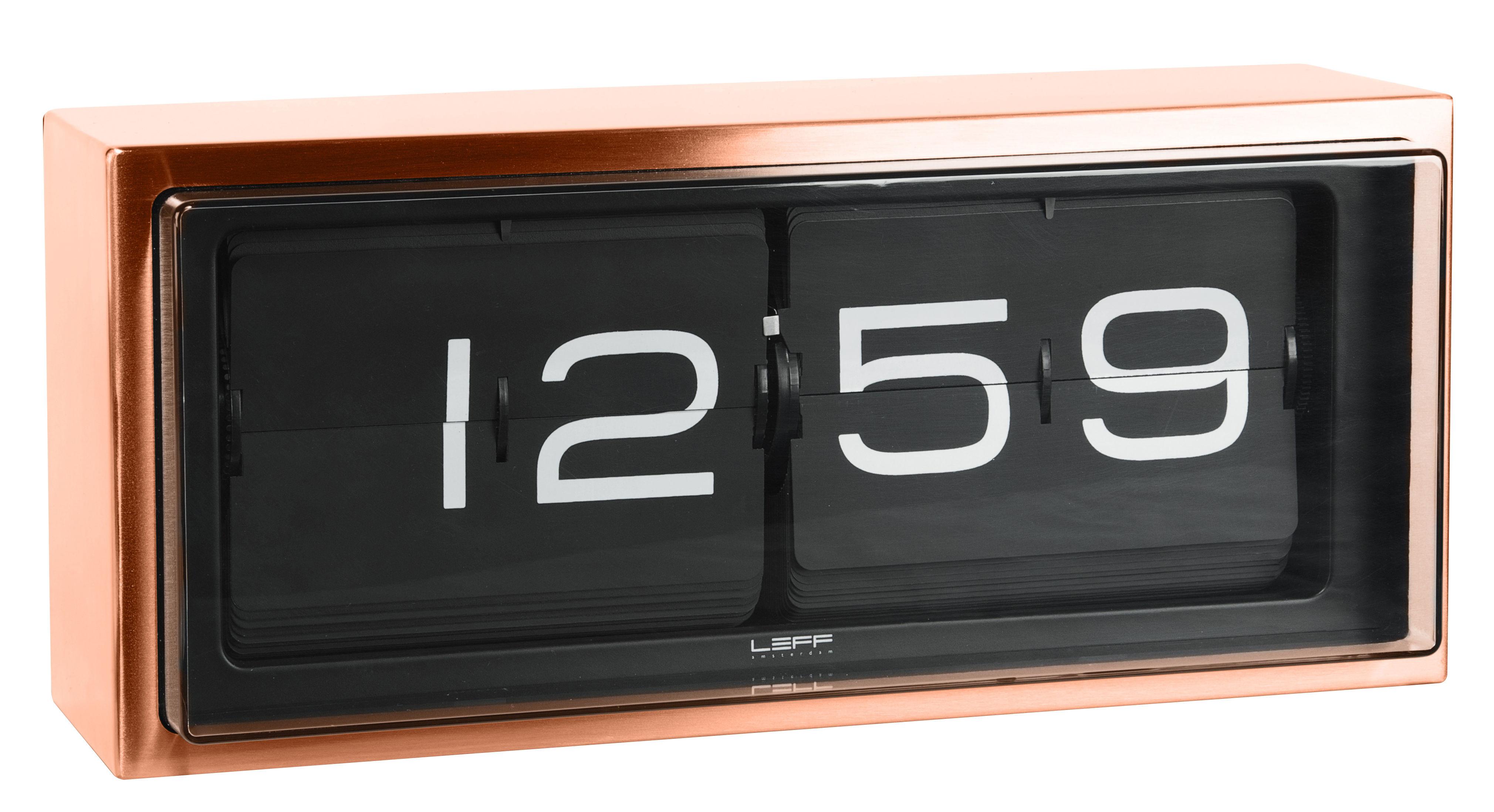 Déco - Horloges  - Horloge murale Brick / A poser ou à suspendre - LEFF amsterdam - Cadre cuivre / Fond noir - Acier inoxydable