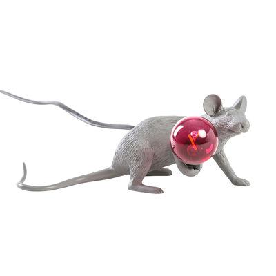 Lampe de table Mouse Lie Down #3 / Souris allongée - Seletti gris en matière plastique