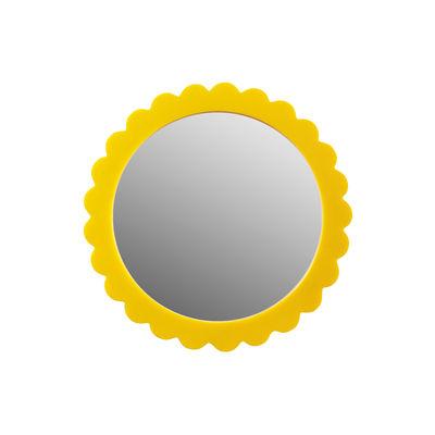 Déco - Miroirs - Miroir à poser Bloom / Ø 17 cm  - Polyrésine - & klevering - Jaune - MDF, Polyrésine, Verre