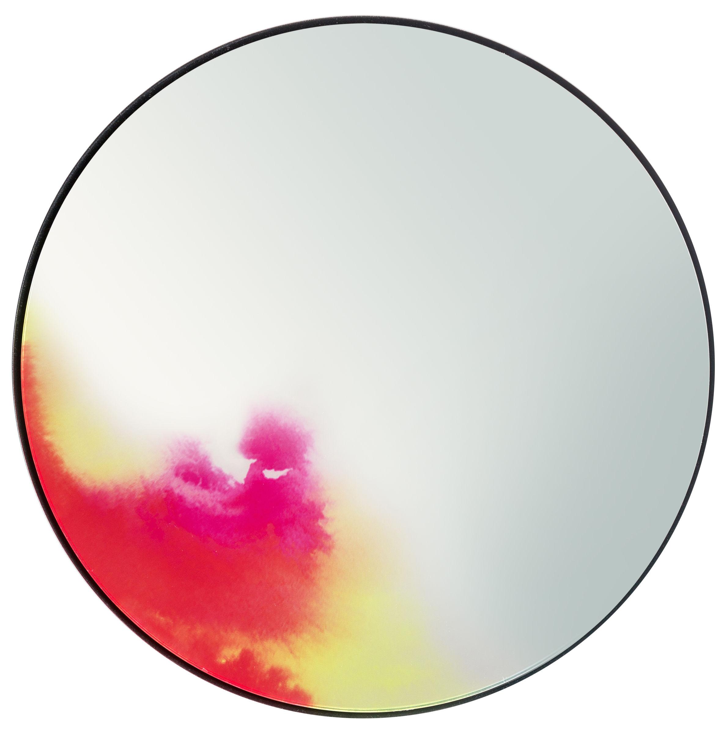 Déco - Miroirs - Miroir mural Francis / Ø 45 cm - Petite Friture - Rose / Orange / Jaune - Aluminium peint, Verre