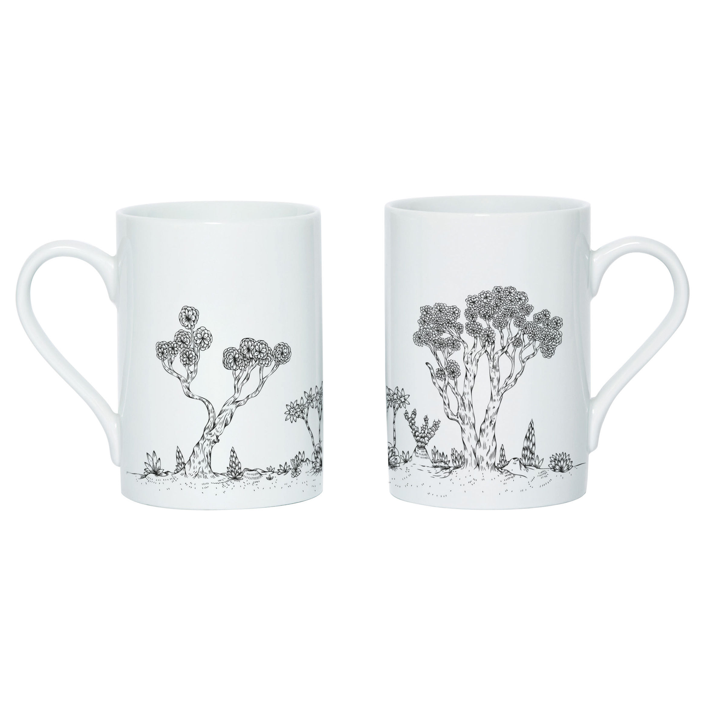 Tableware - Coffee Mugs & Tea Cups - Landscape Mug - Screen printed mug by Domestic - White & black - China