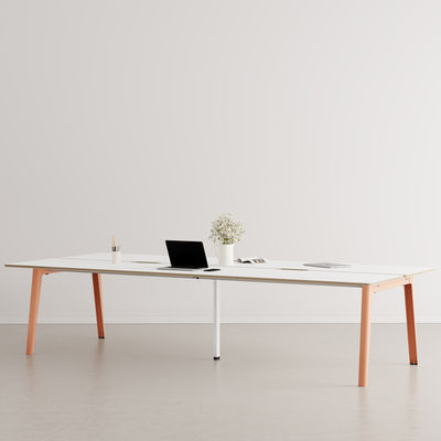 Furniture - Office Furniture - New Modern open space desk - / 6 seats - 320 x 140 cm / Laminate & white central base by TIPTOE - Ash Pink / White central leg - Powder coated steel, Stratified