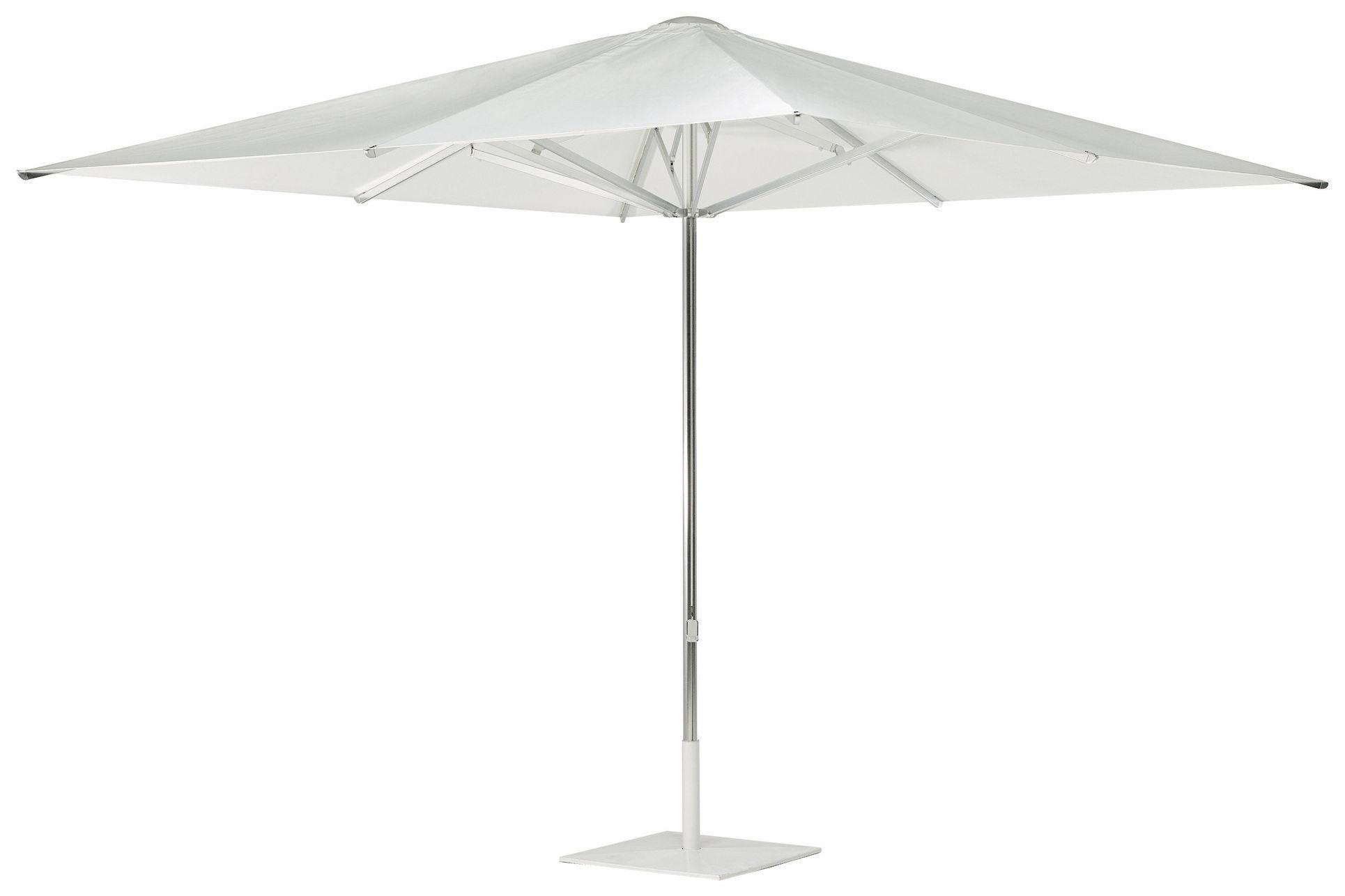 Outdoor - Parasols - Parasol Shade / Pied central - 300 x 300 cm - Emu - Toile blanche / Pied alu / Base blanche - Métal, Toile acrylique