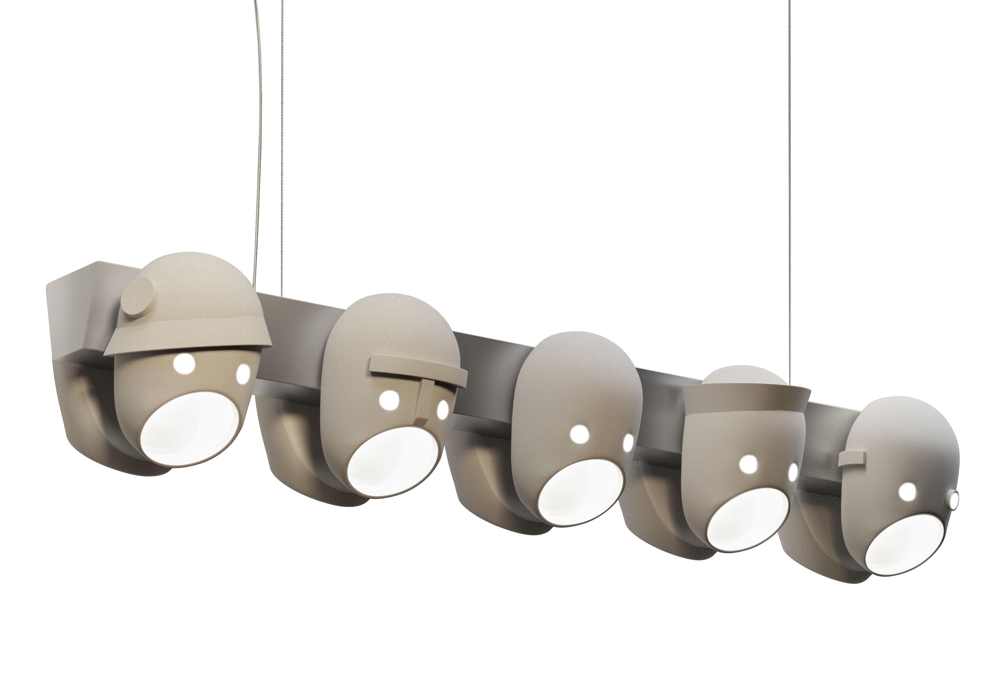 Leuchten - Pendelleuchten - The Party Pendelleuchte LED / Keramik - L 120 cm - Moooi - Grau-beige - Keramik, lackiertes Aluminium