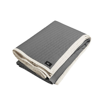 Decoration - Bedding & Bath Towels - Bias Plaid - / Quilted - 245 x 195 cm by Hay - Charcoal grey, White - Cotton, Polyester