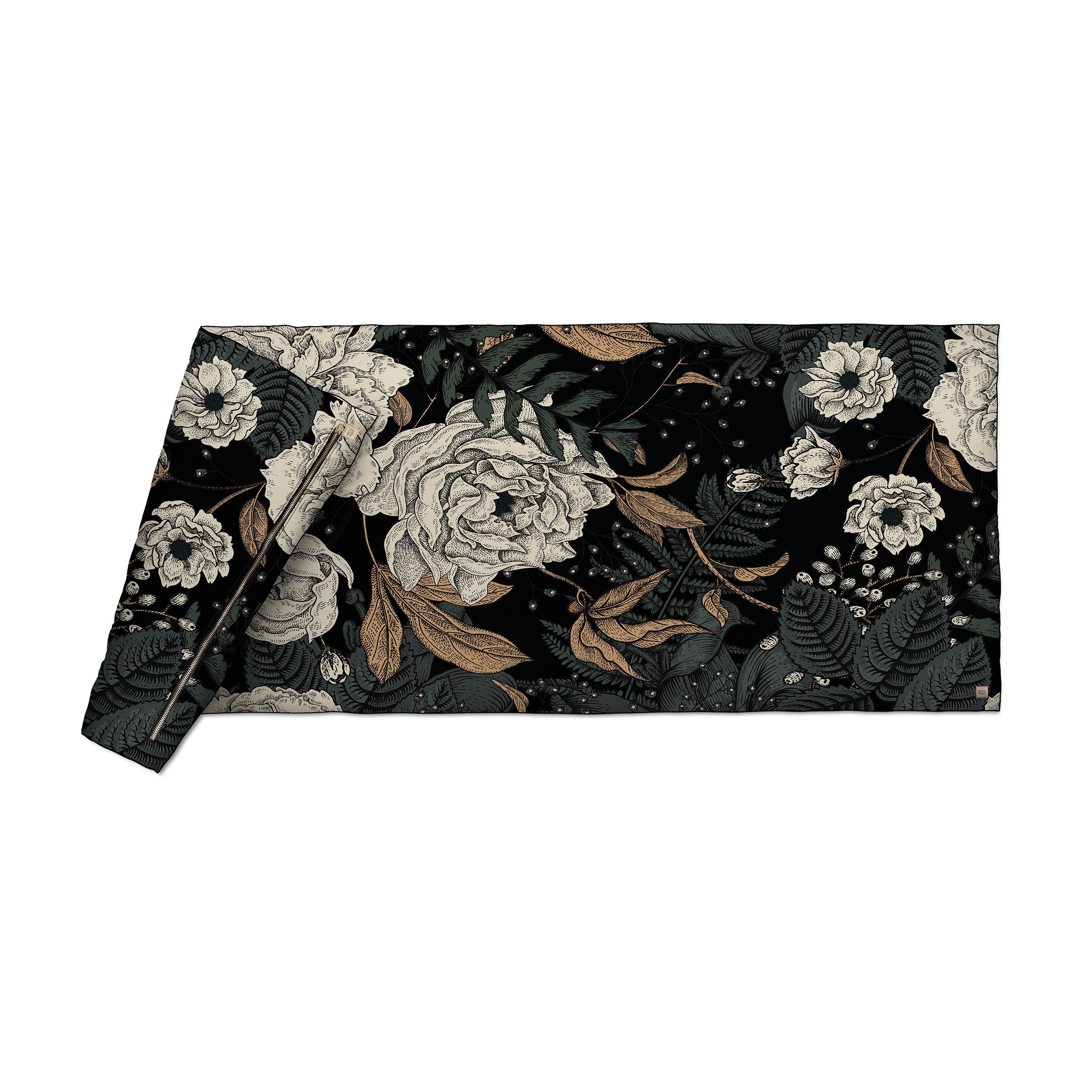 Dekoration - Wohntextilien - Tresors Plaid / Velours  - 85 x 200 cm - Beaumont - Blumen / Schwarz & grün - Gewebe, Polyesterfaser, Velours