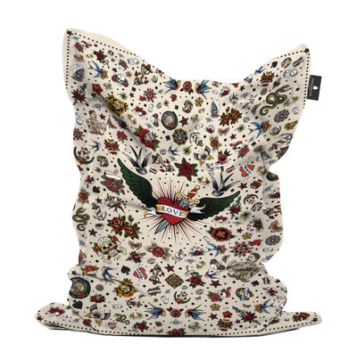 Furniture - Poufs & Floor Cushions - Tatoo Love Pouf - / 140 x 180 cm by PÔDEVACHE - Love tattoo / Multicoloured - Polyester
