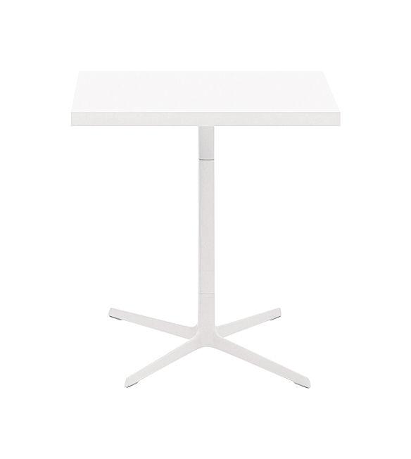 Möbel - Tische - Ginger quadratischer Tisch 70 x 70 cm - Arper - Weiß matt - lackiertes Aluminium, Polypropylen