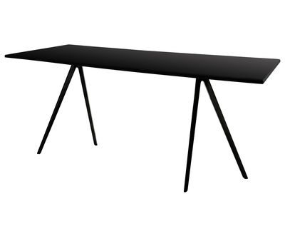 Furniture - Dining Tables - Baguette Rectangular table - 161 x 85 cm - MDF top by Magis - Black legs / Black MDF top - Lacquered MDF, Varnished cast aluminium
