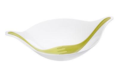 Arts de la table - Saladiers, coupes et bols - Saladier Leaf L+ / 3 L - Avec couverts - Koziol - Blanc / Couverts vert olive & vert moutarde - Plastique