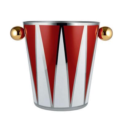 Arts de la table - Bar, vin, apéritif - Seau à champagne Circus / H 23 cm - Métal - Alessi - Blanc & rouge / Poignées or - Acier inoxydable peint