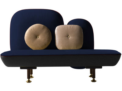 Möbel - Sofas - My Beautiful Backside Sofa L 160 cm - Moroso - Tiefes Blau - Metall, Nussbaum, Wolle