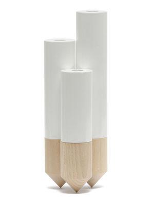 Déco - Vases - Soliflore PIK / Triple - H 25 cm - Y'a pas le feu au lac - Blanc - Hêtre