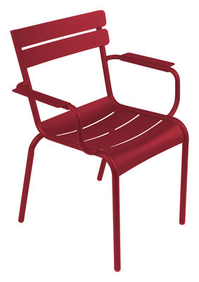 Möbel - Stühle  - Luxembourg Stapelbarer Sessel - Fermob - Chili - lackiertes Aluminium