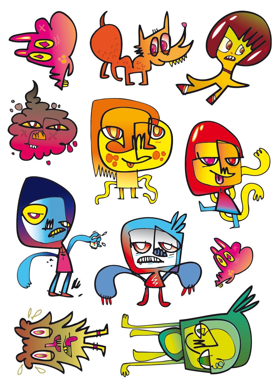 Interni - Per bambini - Sticker Adopt me - Set di 11 di Domestic - Grafismo firmato Jon Burgerman - Vinile