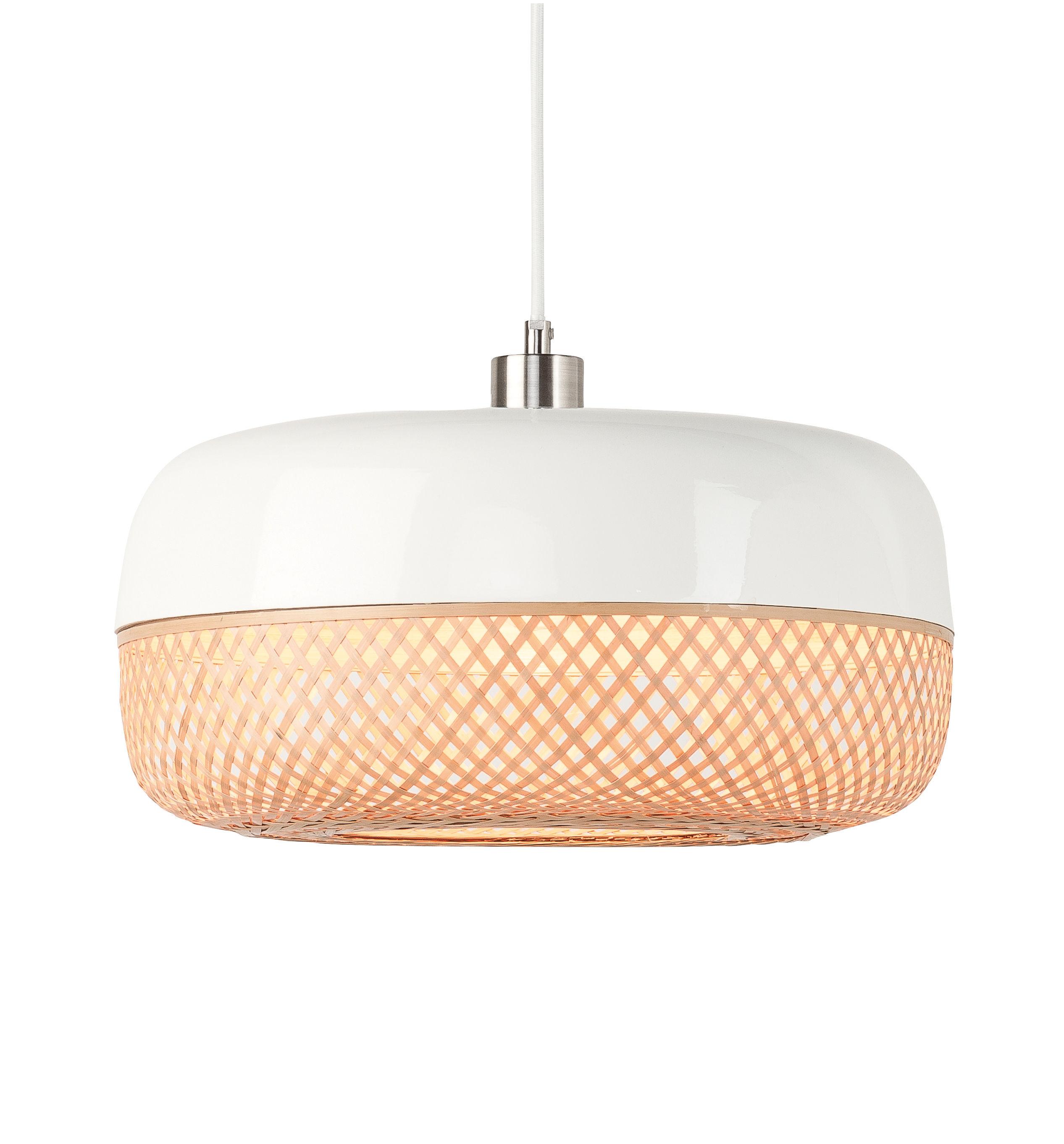 Luminaire - Suspensions - Suspension Mekong / Bambou - Ø 40 x H 22 cm - GOOD&MOJO - Ø 40xH 22 cm / Bambou & blanc - Bambou peint, Banbou naturel tressé