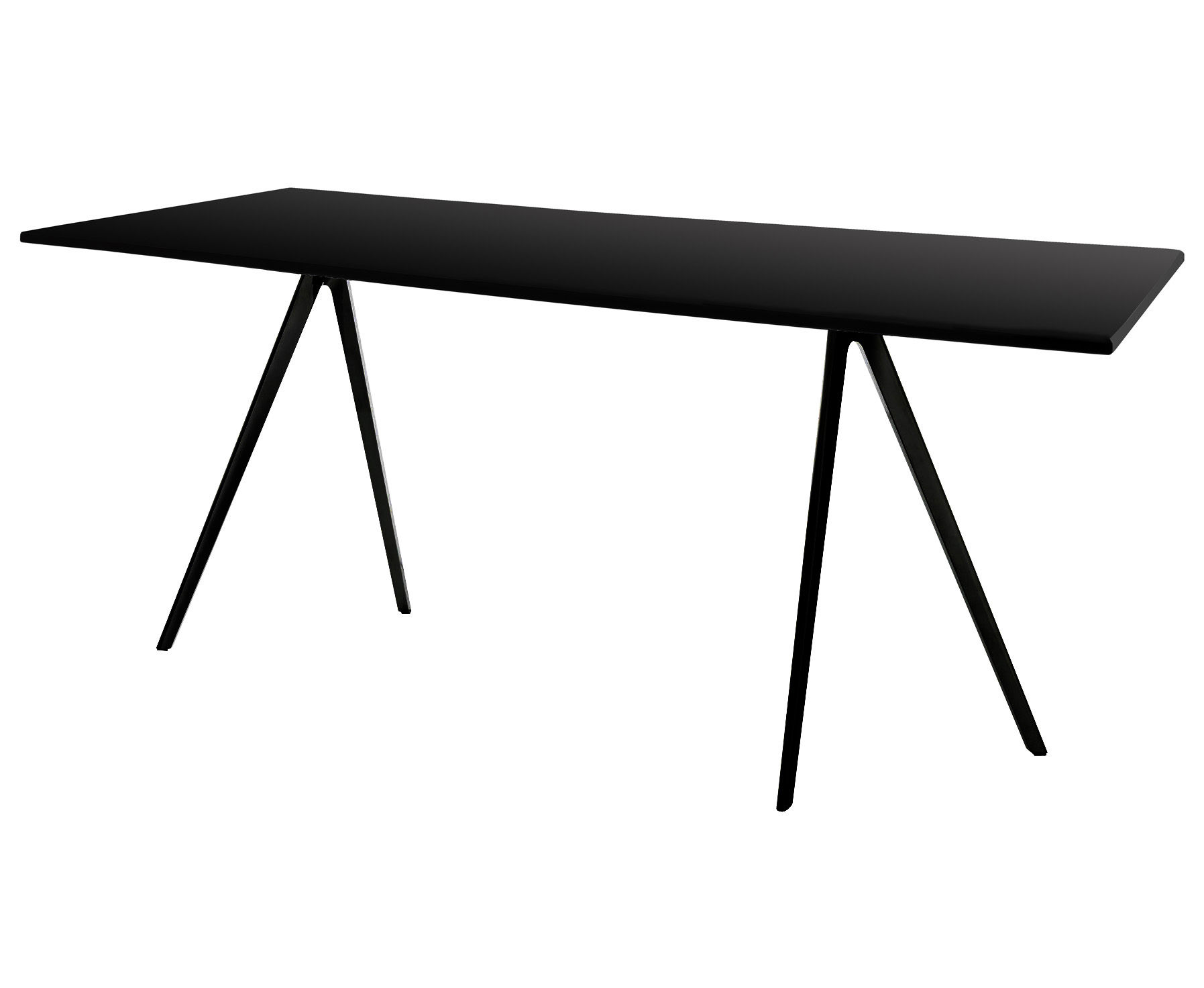 Trends - Must-haves Office - Baguette Table - 161 x 85 cm - MDF top by Magis - Black legs / Black MDF top - Lacquered MDF, Varnished cast aluminium