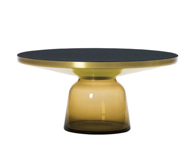 Table basse Bell Coffee / Ø 75 x H 36 cm - Plateau verre - ClassiCon noir,laiton,orange ambré en verre