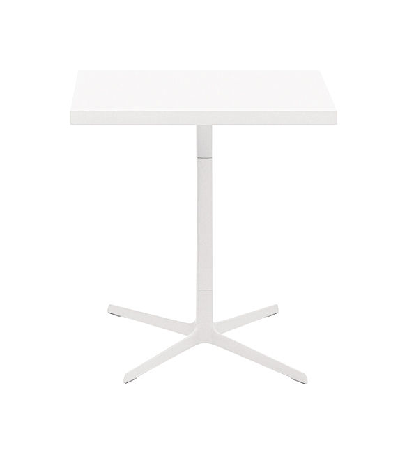 Mobilier - Tables - Table carrée Ginger / 70 x 70 cm - Arper - Blanc mat - Aluminium laqué, Polypropylène