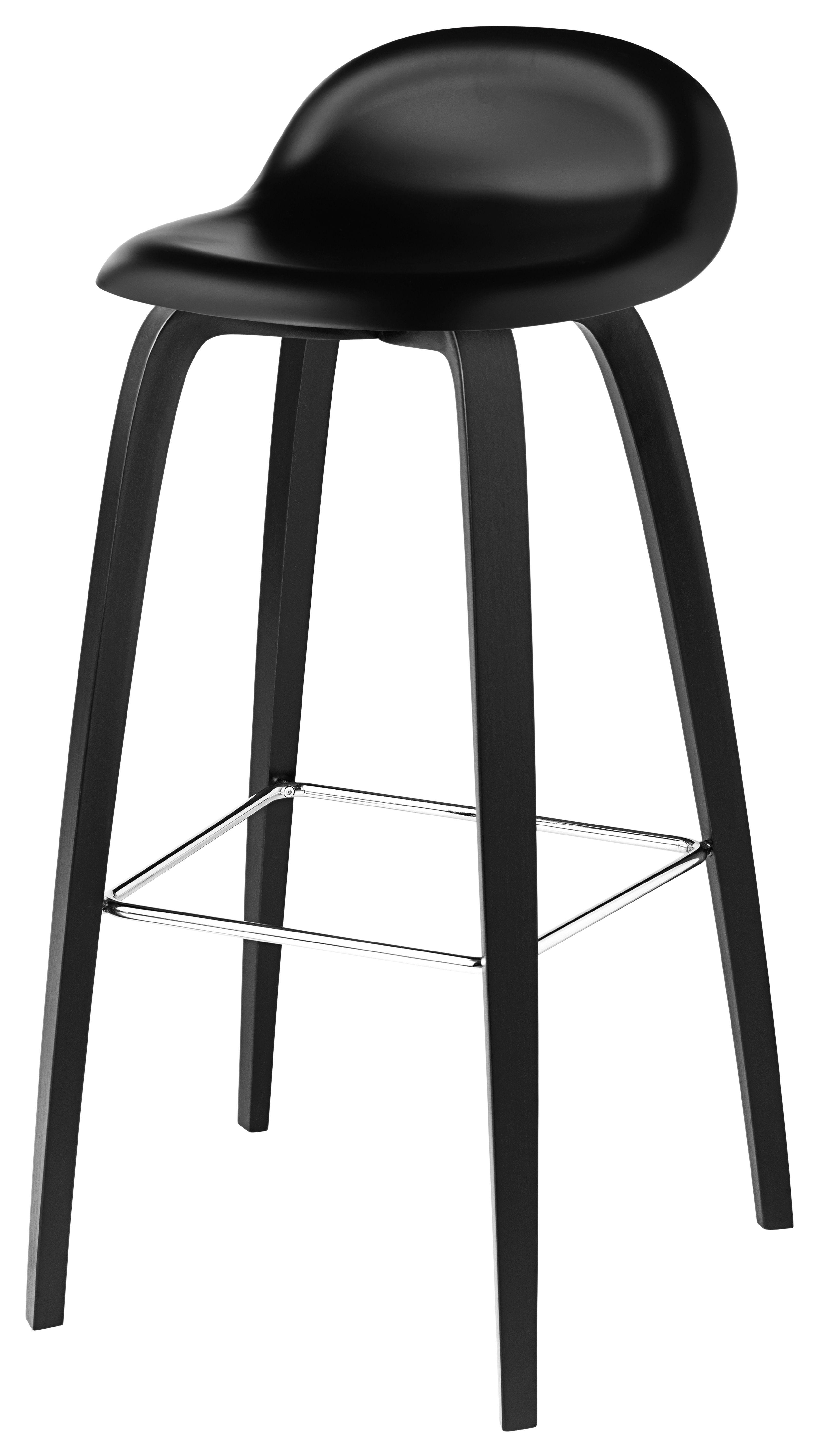 Mobilier - Tabourets de bar - Tabouret de bar 3D / H 75 cm - Coque plastique & 4 pieds bois - Gubi - Noir / Piètement noir - Bois peint, Polymère