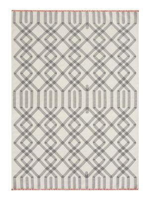 Interni - Tappeti - Tappeto Duna Kilim / 170 x 240 cm - Reversibile - Gan - Bianco & grigio / Bordi rossi - Lana