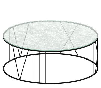 Arredamento - Tavolini  - Tavolino basso Roma - Trasparente & motivi bianchi / Piede nero ramato - Acciaio verniciato, Vetro inciso