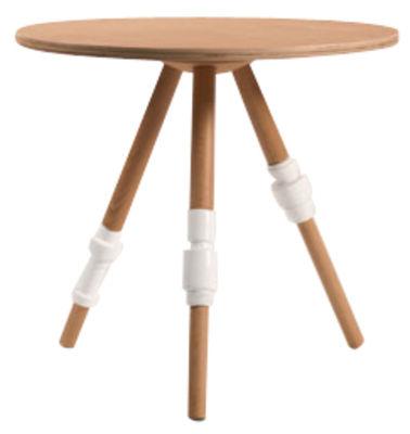 Arredamento - Tavolini  - Tavolino Turn Collection - A 45 cm di Seletti - Faggio naturale/ bianco - Faggio, Porcellana
