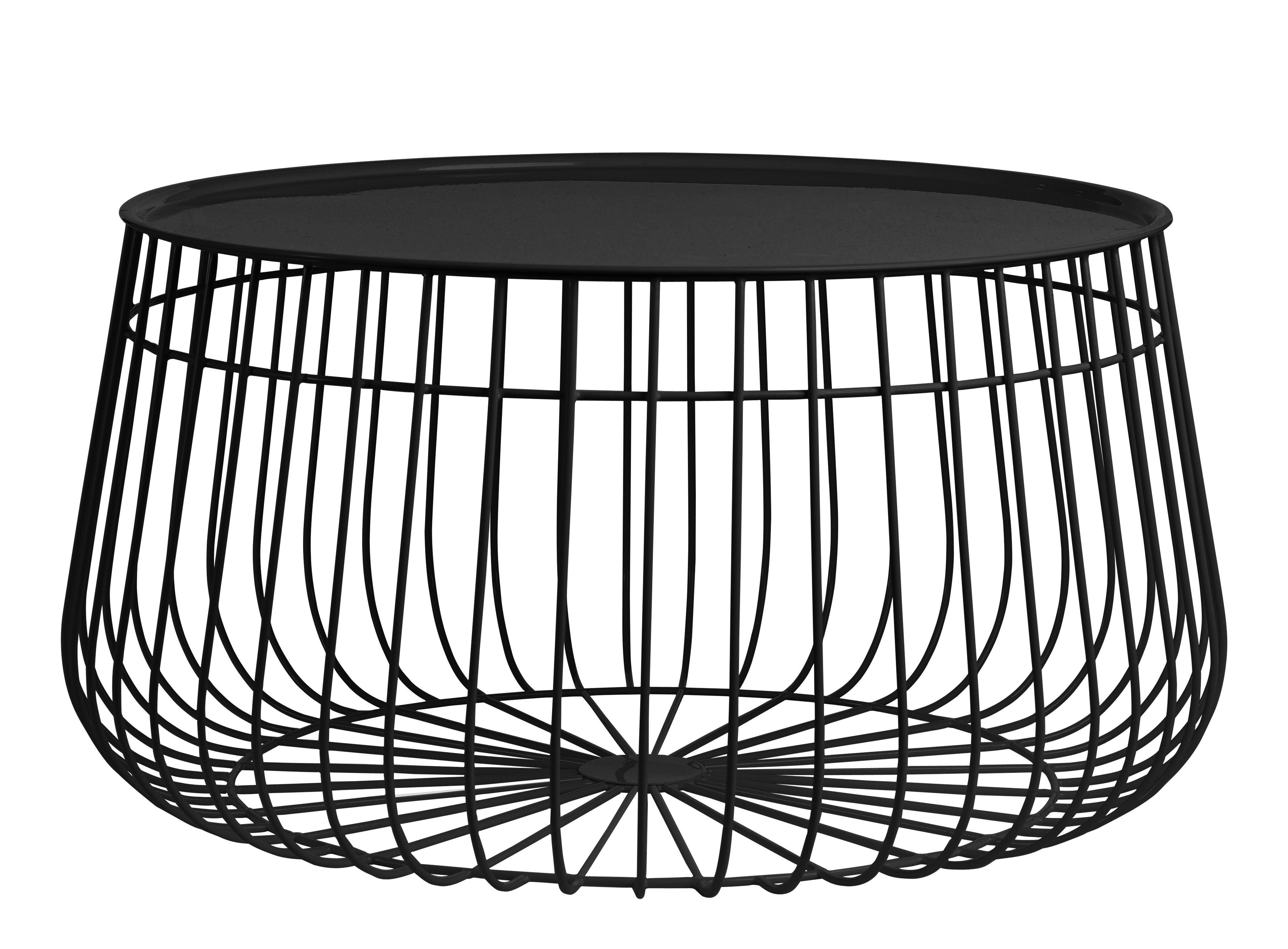 Arredamento - Tavolini  - Tavolino basso Wire / Piano rimovibile - Ø 62 x H 35 cm - Pols Potten - Noir - Ferro, Fil de fer