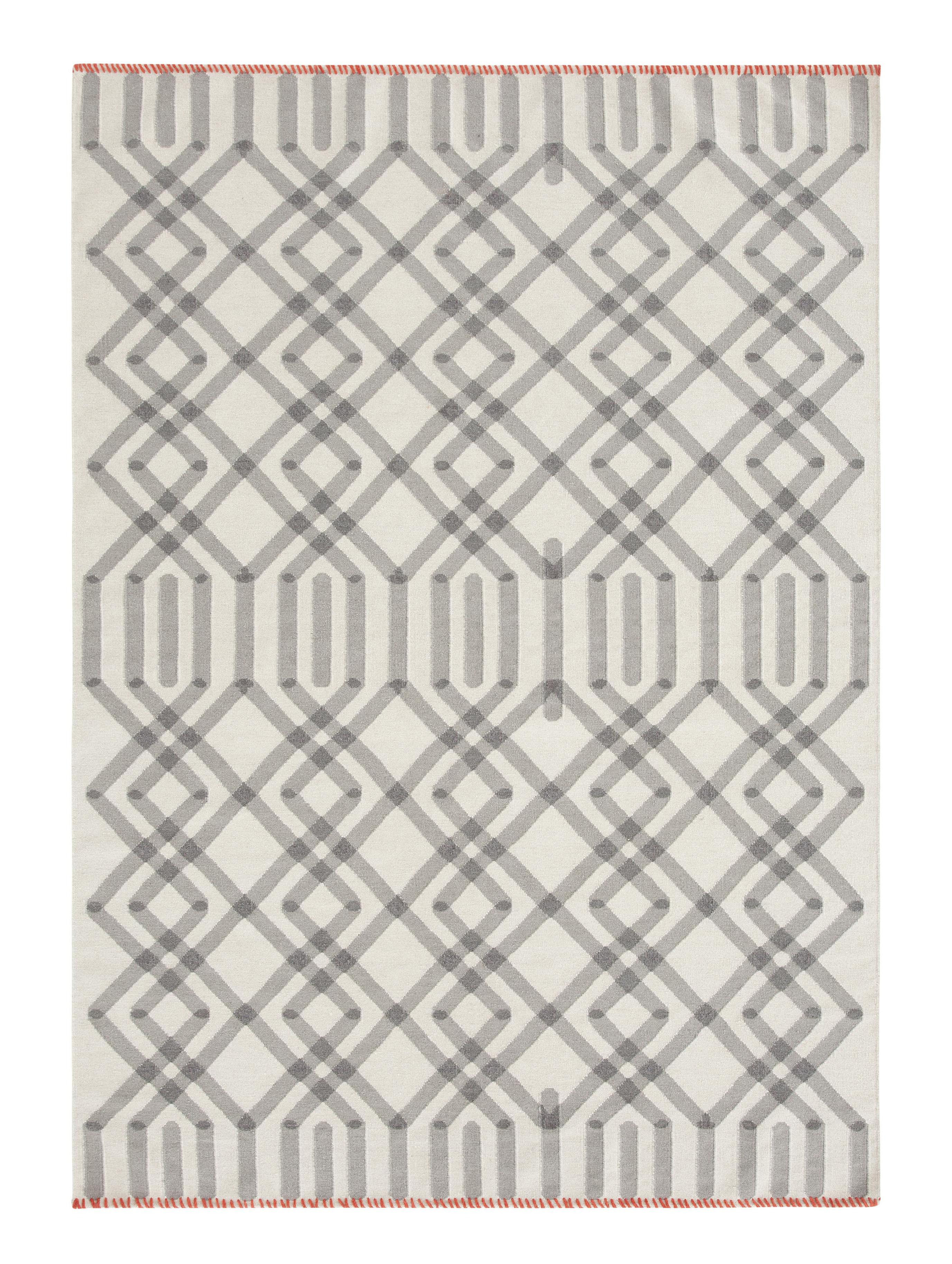Dekoration - Teppiche - Duna Kilim Teppich / 170 x 240 cm - Wendeteppich - Gan - Weiß & grau / Abschlussnähte rot - Wolle