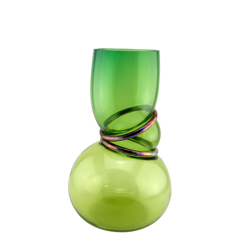 Déco - Vases - Vase Double ring / H 34 cm - Fait main - Vanessa Mitrani - Vert aqua transparent - Métal, Vert soufflé