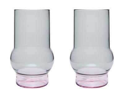 Arts de la table - Verres  - Verre Bump Large / H 14 cm - Set de 2 - Tom Dixon - H 14 cm / Gris & rose - Verre borosilicate soufflé