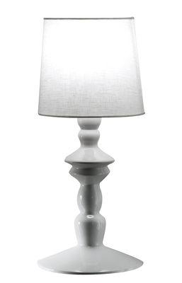 Ali e baba Wandleuchte / Keramik & Leinen - H 60 cm - Karman - Weiß,Weiß glänzend