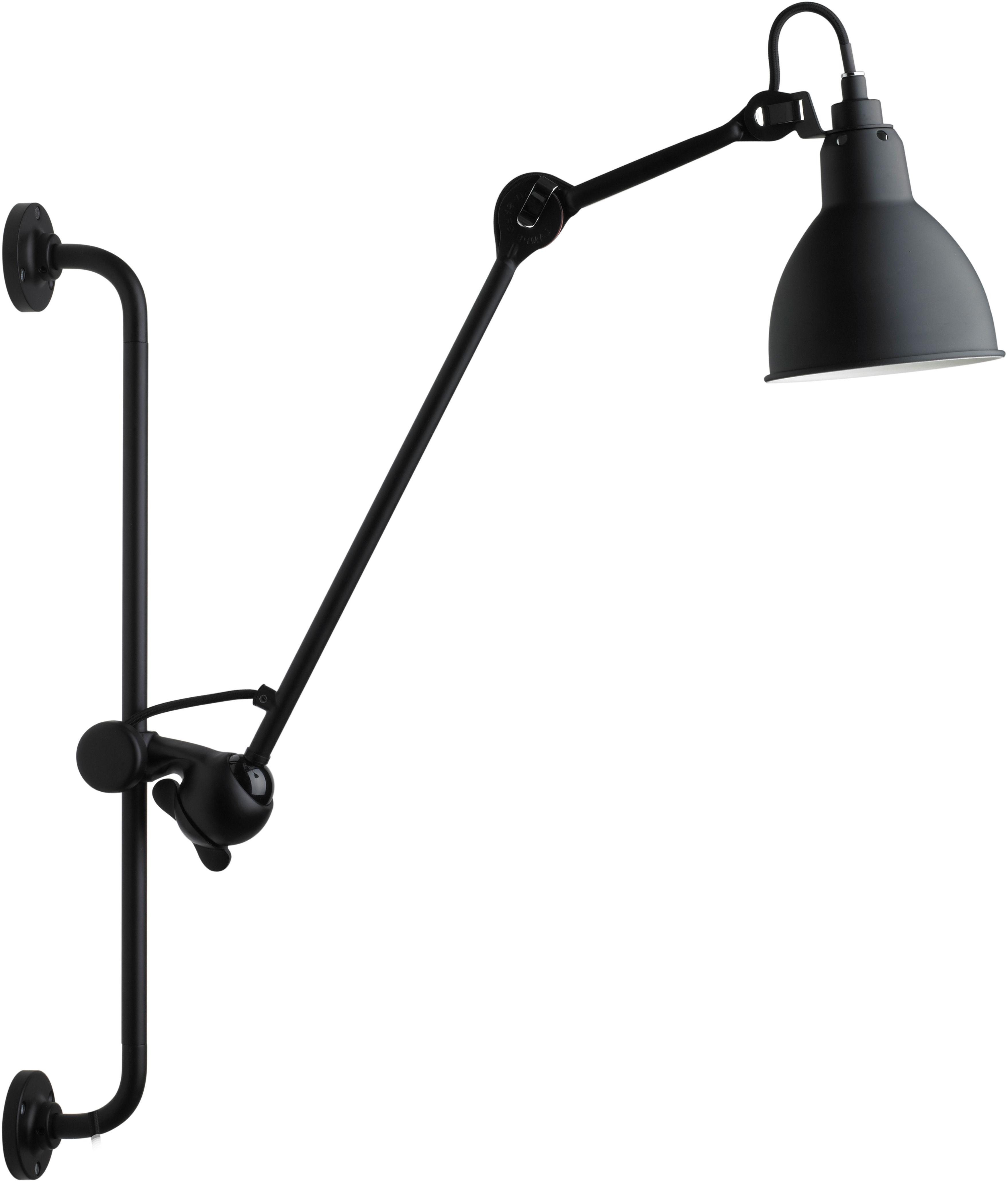 Leuchten - Wandleuchten - N°210 Wandleuchte mit Stromkabel - DCW éditions - Schwarz-matt (satiniert) - Stahl