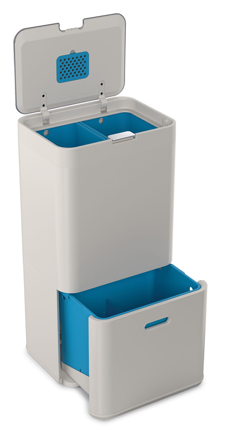 Küche - Mülleimer - Totem 58 Abfallbehälter / 58 l - 4 Fächer - Joseph Joseph - Steingrau - Plastikmaterial, Stahl