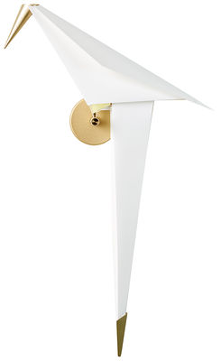 Applique Perch Light Large / LED - Branchement mural - Moooi blanc translucide,laiton en métal