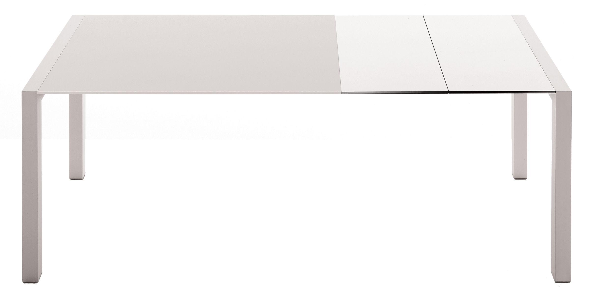 Trends - Essbereich: Neuheiten & Trends - Sushi Ausziehtisch L 150 cm / 225 cm - Kristalia - Tischplatte Glas weiß / Einlegeplatten Laminat weiß - eloxiertes Aluminium, klarlackbeschichtetes Glas, stratifiziertes Laminat
