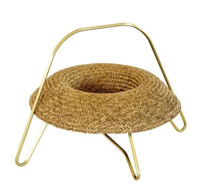 Tableware - Fruit Bowls & Centrepieces - Frutera Basket - Ø 44 cm by Spécimen Editions - Palm / Brass strutcure - Acier finition laiton, Hand woven palm
