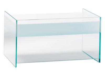 Möbel - Nachttische - Float Beistelltisch 1 Schublade - H 45 cm - Glas Italia - Weiß - Kristall, Wenge