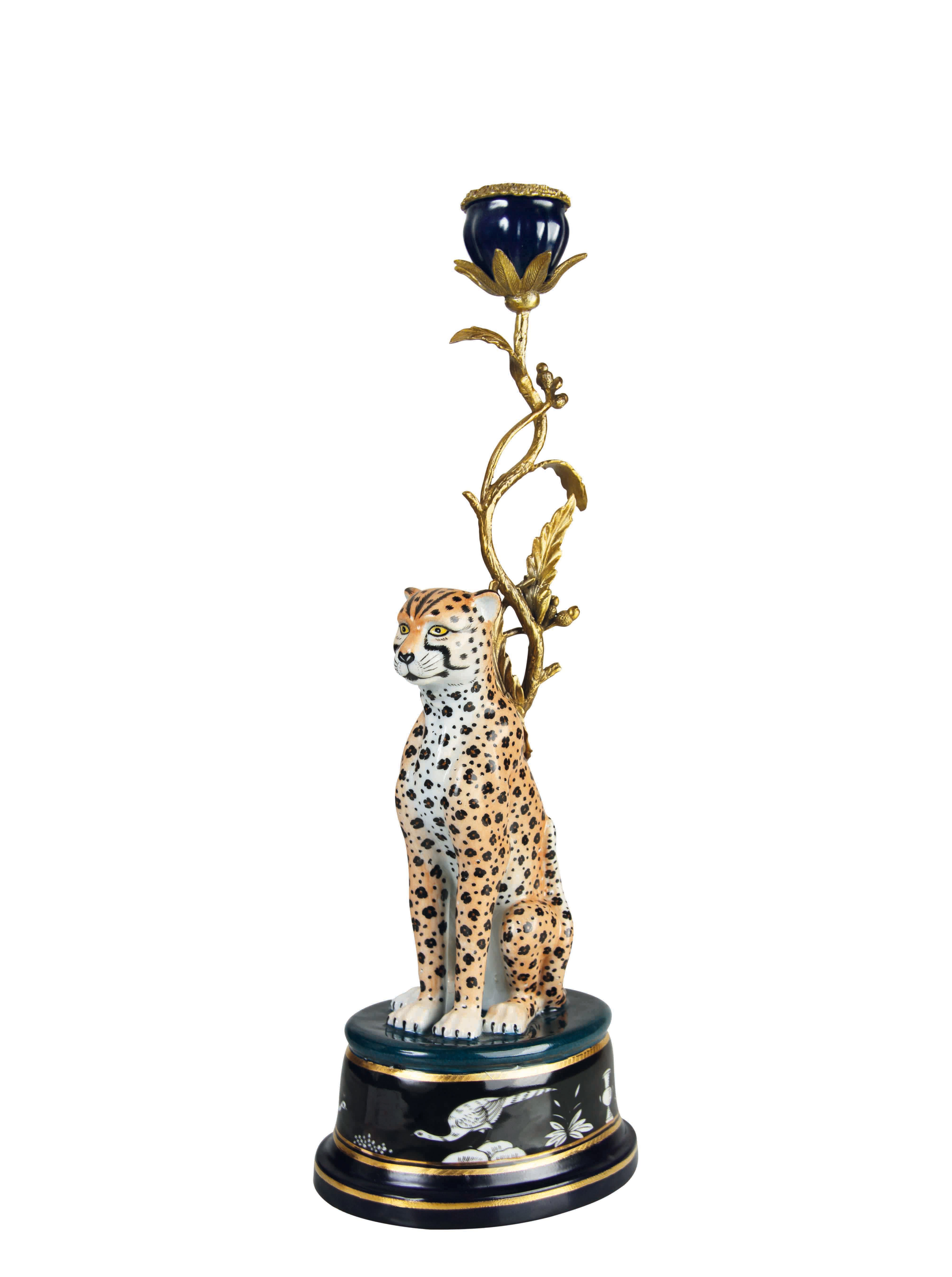 Decoration - Candles & Candle Holders - Léopard Candle stick - / H 44 cm - Ceramic & brass by & klevering - Leopard - Brass, Ceramic