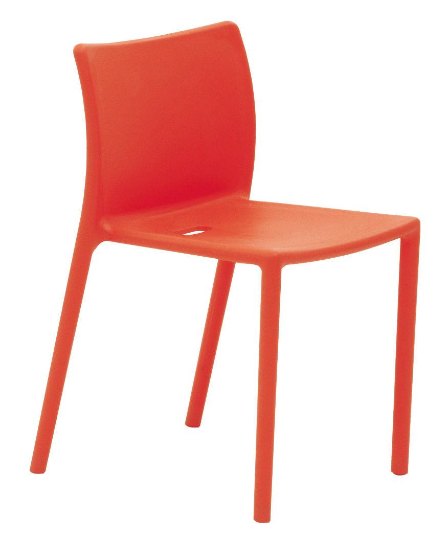 Mobilier - Chaises, fauteuils de salle à manger - Chaise empilable Air-chair / Polypropylène - Magis - Orange - Polypropylène