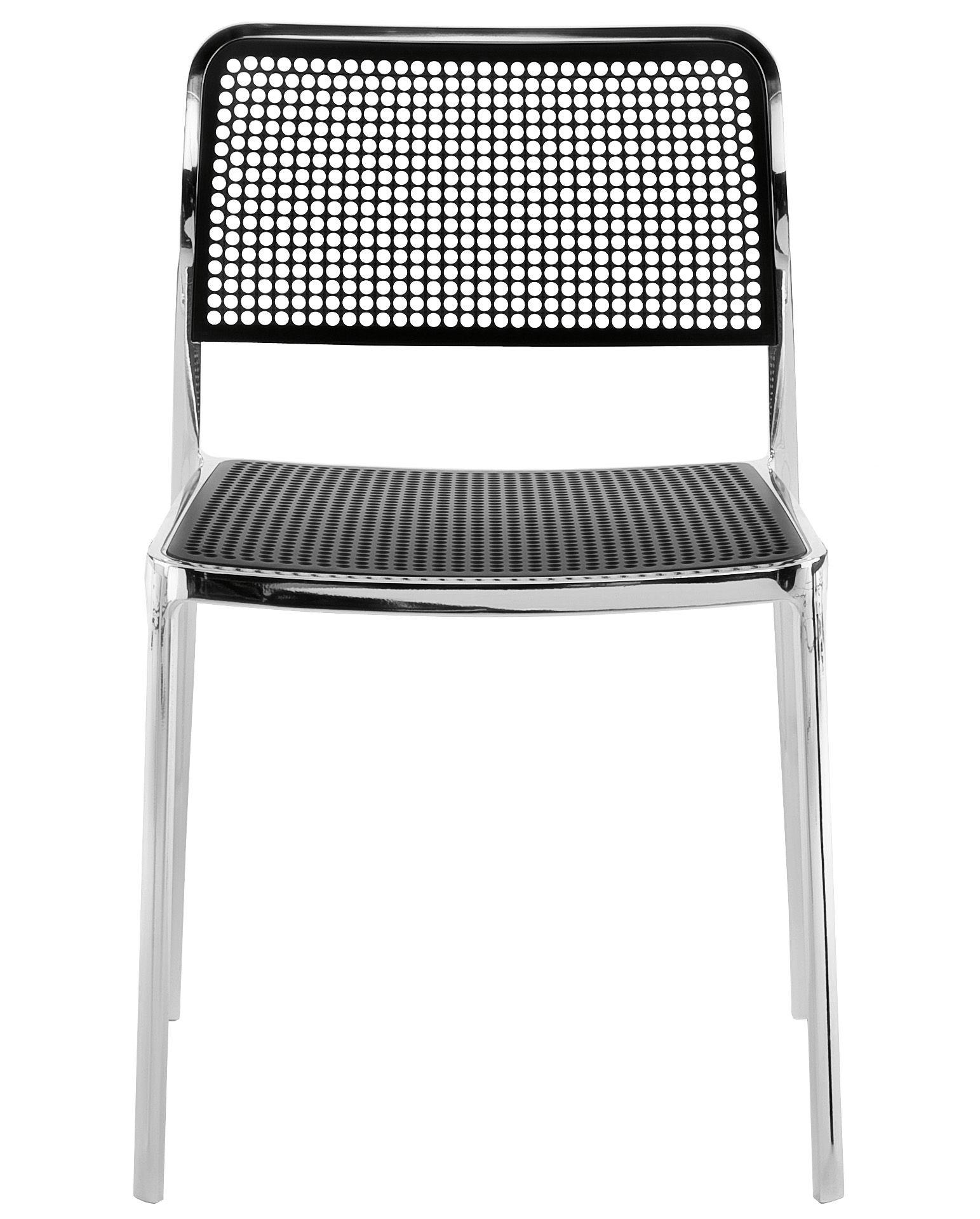 Mobilier - Chaises, fauteuils de salle à manger - Chaise empilable Audrey / Structure aluminium brillant - Kartell - Structure alu brillant/ Assise noire - Aluminium poli, Polypropylène