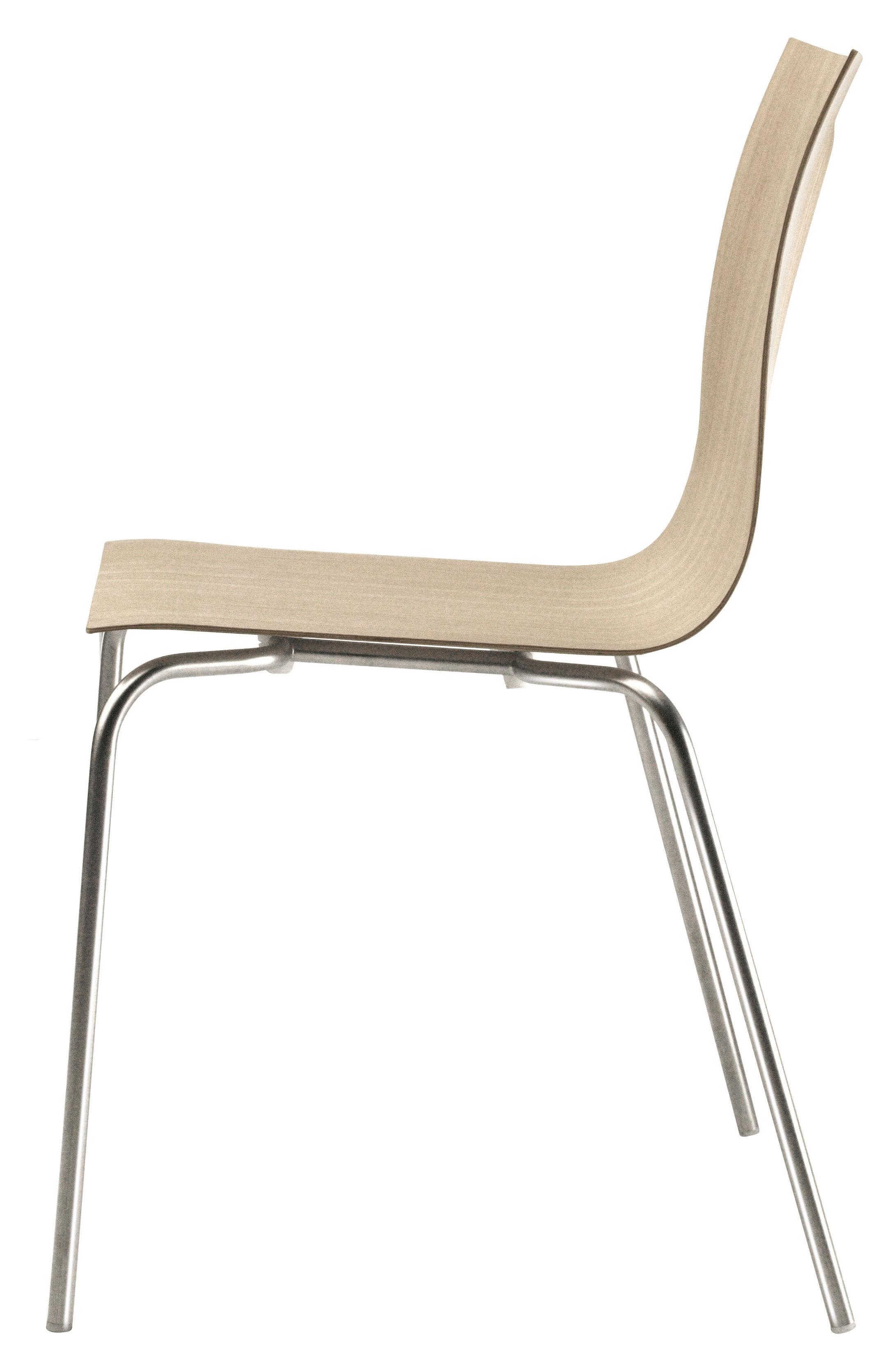 Mobilier - Chaises, fauteuils de salle à manger - Chaise empilable Thin / Bois - Lapalma - Chêne blanchi - Acier sablé, Multiplis de chêne blanchi