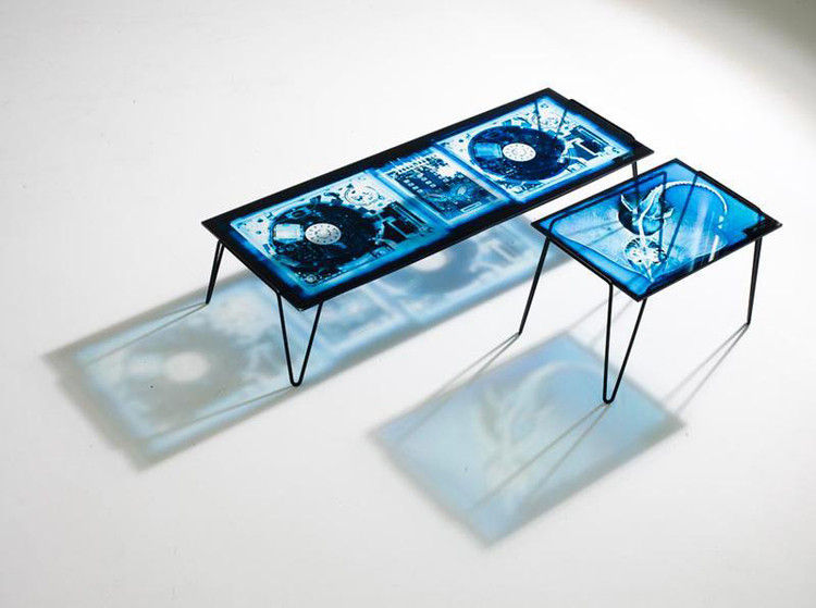 Coffee Table Xradio 2 Disk By Diesel With Moroso Blue