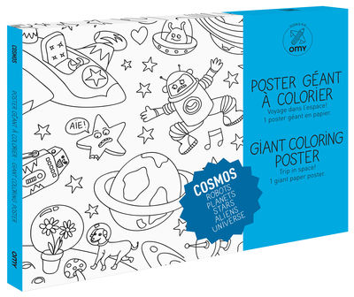 Decoration - Children's Home Accessories - Cosmos Colouring poster - / Giant - L 115 x 80 cm by OMY Design & Play - Black, White - Recycle paper