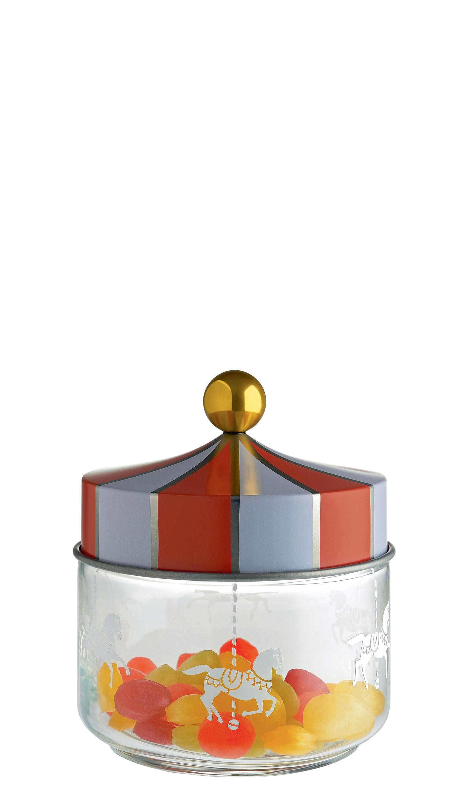 Cucina - Lattine, Pentole e Vasi - Barattolo ermetico Circus / 50 cl - Vetro & metallo - Alessi - 50 cl / Rosso & bianco - Fer blanc, Verre sérigraphié